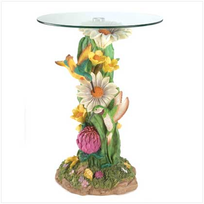 Decorative themed figure round glass top accent table - Guarding dragon accent table ...