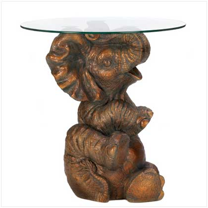 decorative themed figure round glass top accent table | ebay