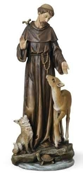 "Garden Statue St Francis: 13.75"" ST FRANCIS Of ASSISI With DEER Animals Garden"