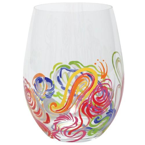 Lolita quill stemless wine glass nib hand painted swirled for Painted stemless wine glasses