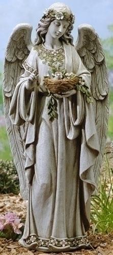 """62856 Joseph's Studio 24"""" Angel Holding Nest Garden Statue"""